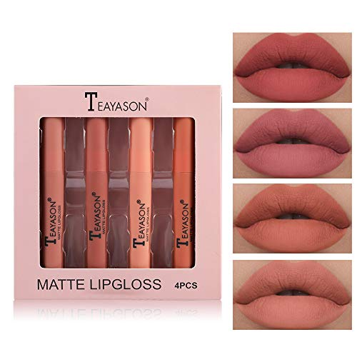 4/12 Stück Wasserdichte Langlebige Matte Flüssigkeit Lipgloss Lippenstift Kosmetik Make up