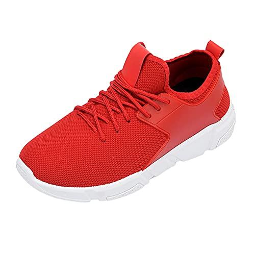 URIBAKY - Zapatillas de ocio al aire libre transpirables, zapatillas de running, running, fitness, transpirables, zapatillas de senderismo, rojo, 42 EU