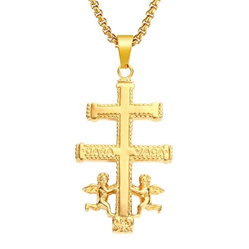 VAWAA Oro Católico Caravaca Crucifijo Ortodoxo Rusia Cruz Collar Colgante con Querubín Ángel Mejores Collares Cristianos para Hombres 40 Mm