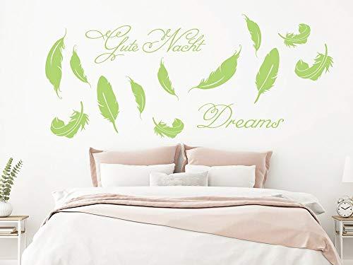 GRAZDesign Wandtattoo übers Bett, Wandaufkleber Feder, Wanddekoration für Schlafzimmer / 100x57cm / 030 dunkelrot