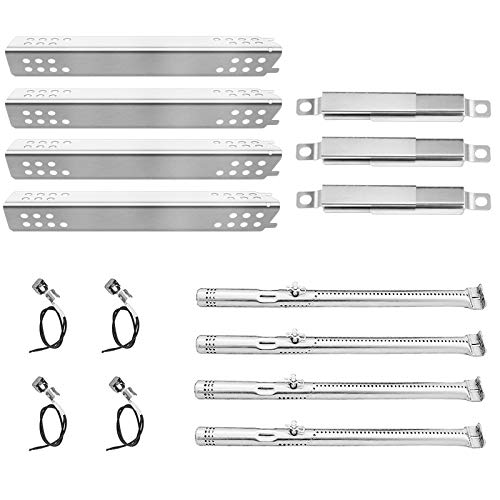 Rejekar Replacement Kit for Charbroil Advantage 4 Burner Gas Grill 463344116, 466344116, Grill Heat Plates Tent G361-0003-W1 & Burners Tube G432-8M00-W1 & Adjustable Carryover Tube & Ignition Wire