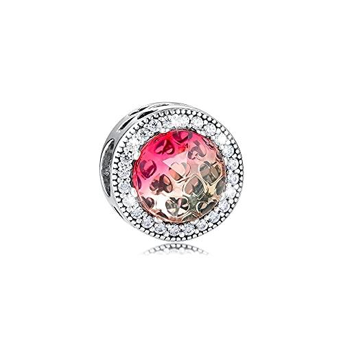 LIIHVYI Pandora Charms para Mujeres Cuentas Plata De Ley 925 Joyería Radiant Hearts Red Brand Compatible con Pulseras Europeos Collars
