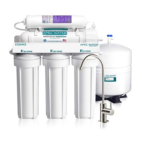 APEC Water Systems ROES-PH75 Essence Series Top Tier Alkaline Mineral pH+ 75 GPD 6-Stage Certified Ultra Safe Reverse… 1 Supreme quality - designed, engineered and assembled in USA to guarantee water safety & your health. This 75 GPD 6-stage system ROES-PH75 is guaranteed to remove up to 99% of contaminants such as chlorine, taste, odor, VOCs, as well as toxic fluoride, arsenic, lead, nitrates, heavy metals and 1000+ contaminants. Max Total Dissolved Solids - 2000 ppm. Feed Water Pressure 40-85 psi US made cartridge uses food-grade calcium from trusted source for safe, proven water pH enhancement. Enjoy ultra-pure drinking water with added calcium minerals for improved ALKALINITY and great taste.