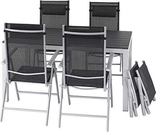 ib style®Polywood Gartengarnitur | Tisch+ 4X Klappstuhl Jamaica+ 2X Fußbank |pflegeleicht und witterungsbeständig | Tisch: 150x90cm