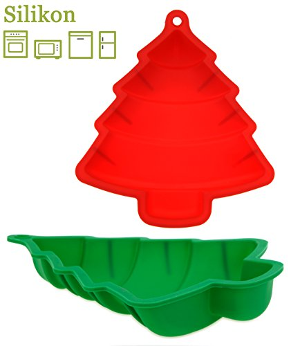matrasa Silikon Backform Tannenbaum - Weihnachtsbackform 23,5 cm - Silikonbackform (grün)