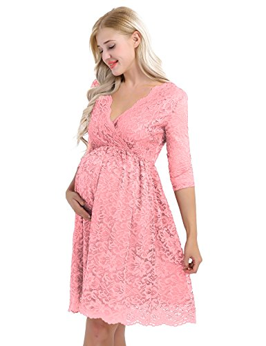 TiaoBug Damen Umstandskleid Spitzenkleid Frauen Schwangerschafts Kleid V-Ausschnitt Mutterschafts Kleid Fotografie Stillkleid mit Geknotetem Dekolleté Rosa 38