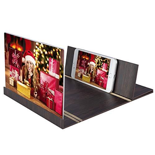 Aitsite Lupa de Pantalla Teléfono Inteligente Amplificador de Pantalla Teléfono de Madera 3D Ampliador de Pantalla Soporte de Escritorio Soporte Plegable Soporte portátil Cine en casa (Café)