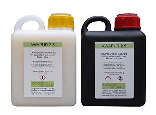 Wagner Silicones AWAPUR 2.5 PU Gießharz Resin 2 K-Gießmasse dünnflüssig 2 kg (2 x 1000g)