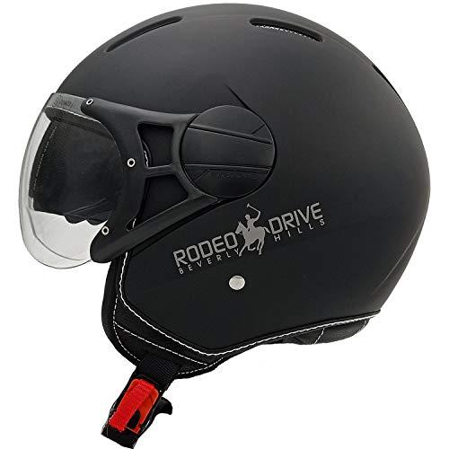 Rodeo Drive RD107N LUX casco scooter moto con visierino da sole, nero, M