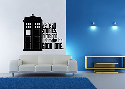 Lucky Girl Decals Vinyl Wall Decor Dr. Who Inspired Tardis Stories Good One 13.7 inches Wide by 12.5 inches high