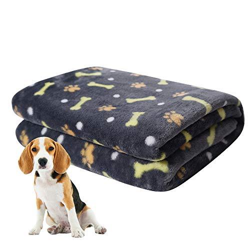 softan Hundedecke, Flauschige Haustierdecke für Kleine Mittlere Große Hunde, Waschbare Welpendecke, Weiche und Warme Flanellfleece Katzendecke,120 x 150cm, Grau