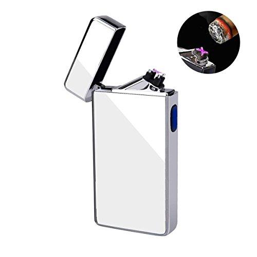 NuoYo USB Elektronisch Feuerzeug NuoYo Feuerzeug Lichtbogen Tragbar Wiederaufladbar Zigarettenanzünder mit USB Kabel Elegante Geschenkverpackung Sicher und Winddicht Ohne Gas Silber