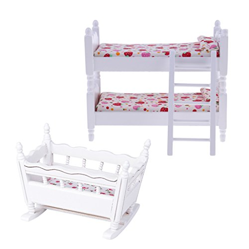 sharprepublic Handmade 1/12 Dollhouse Bedroom Furniture Children Bunk Bed Baby Cradle Set