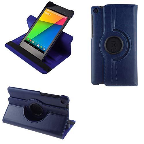 COOVY® 2.0 Cover für Google ASUS Google Nexus 7 (2. Generation Model 2013) Rotation 360° Smart Hülle Tasche Etui Hülle Schutz Ständer Auto Sleep/Wake up | dunkelblau