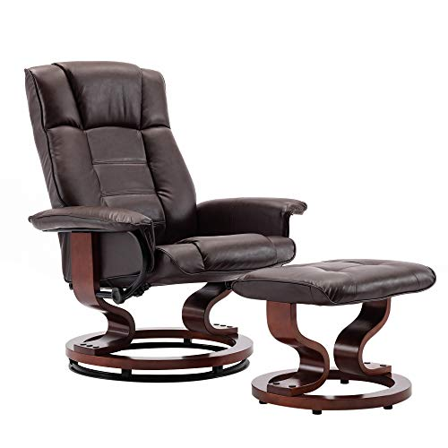 SIMFLAG Recliner with Ottoman, Comfy & Leather Chair for Living Room and Bedroom, Reclining Swiveling Armchair, Easy to Assemble