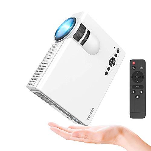 Proyector, TENKER Q5 Mini proyector de video + 20% lúmenes Full HD 1080P Proyector de LED portátil Soporte HDMI USB TF VGA AV para iPhone iPad Teléfono inteligente TV Xbox PC, Blanco [Clase de eficiencia energética A +++]