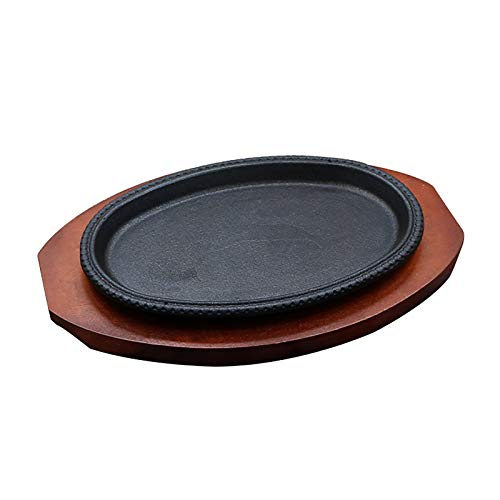 Round Shape Cast Iron Steak Plate Sizzle Griddle with Wooden Base, Cast Iron Sizzler Plate Round Serving Pan for Serving Hot Sizzling Dishes (Color : B)