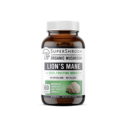 Organic Lions Mane SuperShroom Supplements | Full-Spectrum Mushroom Powder | 100% Fruiting Bodies | No Fillers