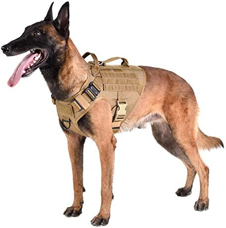 ICEFANG Tactical Dog Harness 2X Handle Working Dog MOLLE Vest No Pulling Front Leash Clip Hook product image