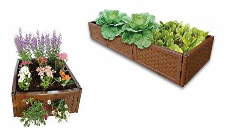 UPP Multifunktions Hochbeet Kunststoff Rattan flexibel & erweiterbar | Stecksystem für Garten und Balkon | Als Blumenkasten (Blumen & Gemüse), Sandkasten o. Komposter nutzbar [12er Set, Braun]