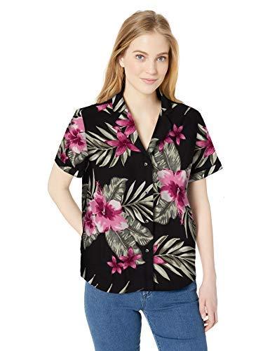 Amazon Brand - 28 Palms - Blusa Aloha holgada hawaiana de 100% algodón, para mujer, Black/Pink Hibiscus Floral, US L (EU L - XL)