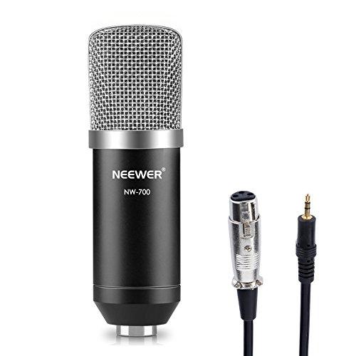 Neewer BM-700 Micrófono de Condensador Professional Estudio Transmisión y Grabación:(1)Micrófono BM-700(1)Casquillo de Espuma Antiviento Tipo Bola(1)Cable de Audio de Micrófono(Negro)