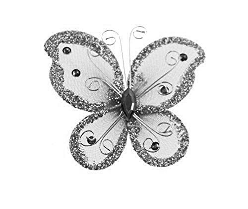 """24 Silver Organza Nylon Wire Butterfly Wedding Arts and Crafts Decorations 2"""" Big"""