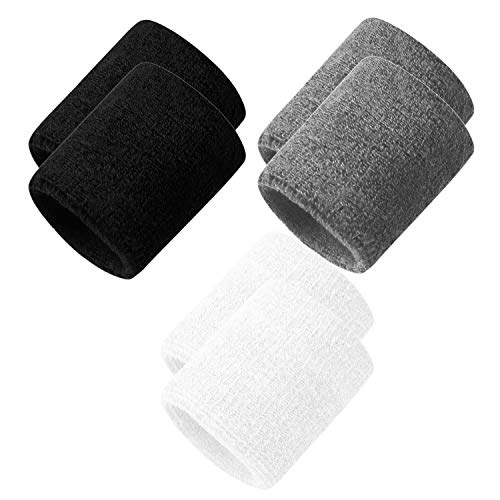 Oureamod Men & Women Sweatband Headband Terry Cloth Moisture Wicking for Sports,Tennis,Gym,Work Out (Wristbands-3 Pack)