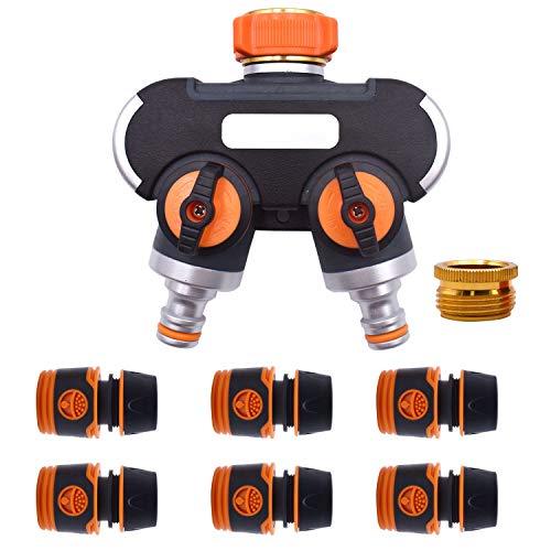 KCNOFNC Distribuidor de 2 vías 3/4 y conector de manguera 1/2, distribuidor de agua con adaptador de grifo 1/2, flujo de agua regulable y bloqueable.