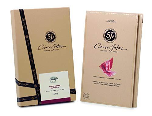 Los dos clásicos de CINCOJOTAS - 1 sobre envasado al vacío de Jamón Bellota 100% Ibérico 5J (80gr) + 1 sobre de Paleta Bellota 100% Ibérica 5J (80gr)