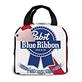 Pabst Blue Ribbon Beer Logo Lunch Bag Reusable Lunch Box Lunch Cooler Tote