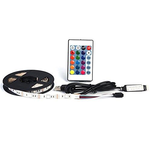 Luz Trasera de LED TV Tira de 5V USB con Control Remoto 50 RGB 16 Luz de Polarización para TV de Alta Definición Fondos Socialme-EU(2M)