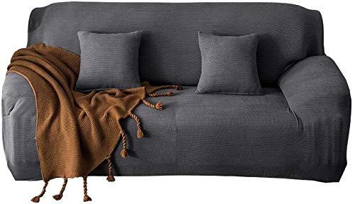 Funda de sofá Dujie, funda de sofá de punto de forro polar, funda de sofá elástica de color sólido, funda de sofá de 1/2/3/4, funda de asiento de 1/2/3/4 (azul marino, cuatro (235-300 cm).
