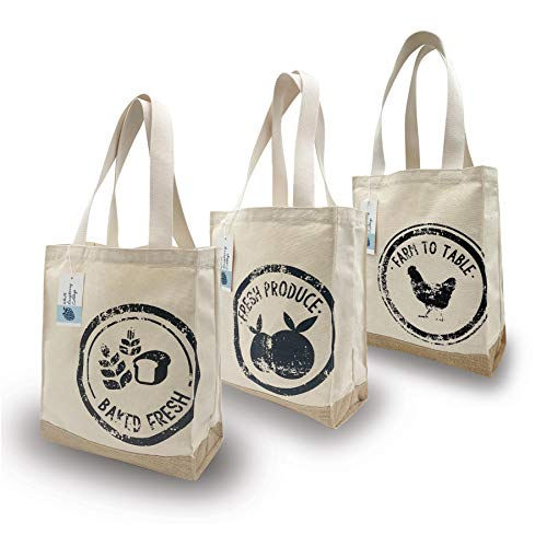 White Raspberry Cottage MADE IN THE USA Natural Canvas and Jute Grocery Shopper Farmers Market Tote Bag (3 Pack)