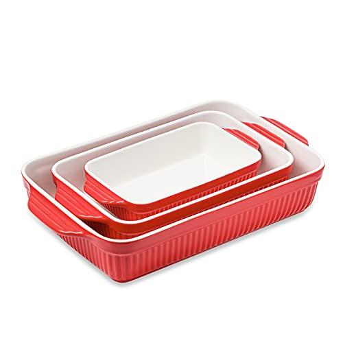 Kanwone Porcelain Bakeware Set, Baking Dishes, Rectangular Lasagna Pans, Casserole Dish Set of 3 for Cooking, Kitchen, Cake Dinner, 9 x 13 Inches, Stripe Series - Navy Bakeware Set, Baking Dishes, Rectangular Lasagna Pans, Casserole Dish Set of 3 for Cooking, Kitchen, Cake Dinner, 9 x 13 Inches, Stripe Series - Red