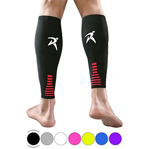 Rymora Calf Compression Sleeves Men Women Shin Splints Running (Pair Black) (L)