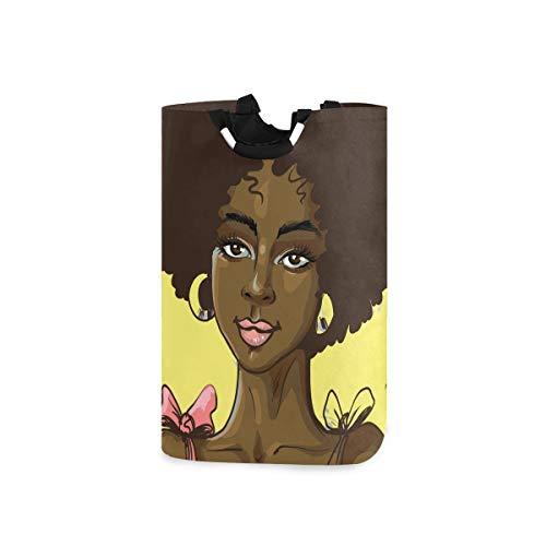 Mr.XZY Cesta para la ropa sucia de chica africana para el pelo negro, para el dormitorio, baño, 50 l 2010068