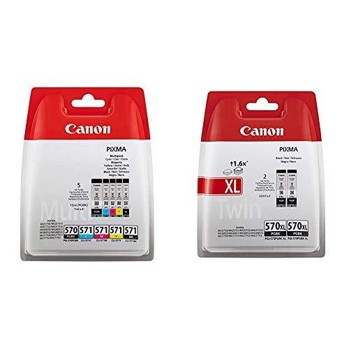 Canon PGI-570+CLI-571 5 Cartuchos Multipack de Tinta Original PGBK/BK/C/M/Y para Impresora de Inyeccion de Tinta Pixma + PGI-570 XL 2 Cartuchos de Tinta BK XL para Impresora de Inyeccion Pixma