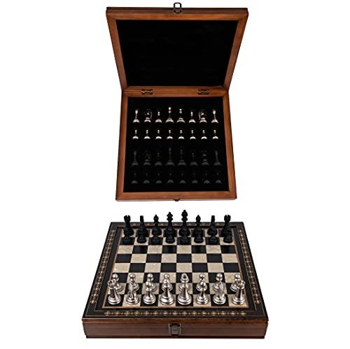 Tablero de ajedrez de madera con almacenamiento | Juego de ajedrez | Hecho a mano | Edición de lujo | Piezas de ajedrez de madera | 40 x 40 x 7 cm | Comprar juego de ajedrez