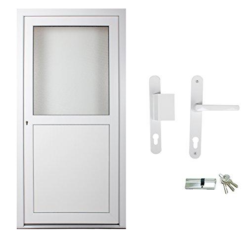 kuporta Kunststoff Kellertür Malin weiß nach Maß DIN rechts nach außen öffnend mit Drücker/Griffplatte