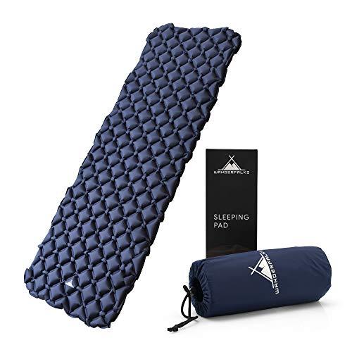 WANDERFALKE Camping Isomatte blau (XL-Breite) 190 x 66 x 6 cm - Luftmatratze Camping - ultraleichte Isomatte für Outdoor, Camping, Wandern, Reise