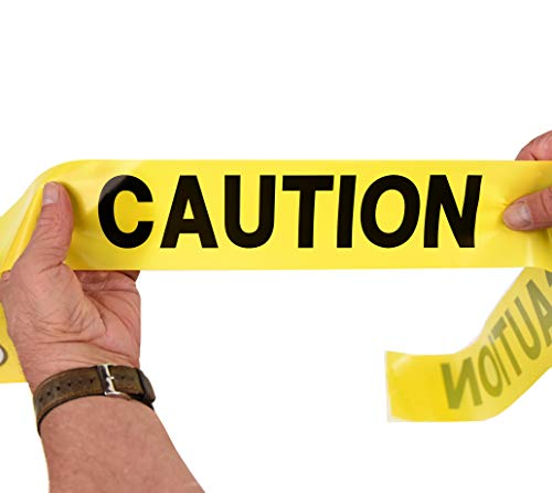 Caution Tape | Bright Yellow Maximum Visibility | Weatherproof | Thick & Durable| Large 3 In x 1000 FT | by Teegan Tapes