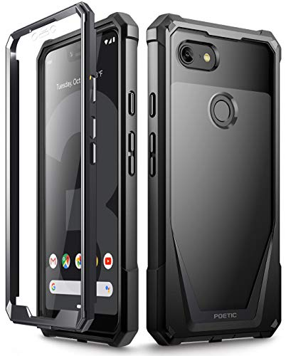 Google Pixel 3 XL Case, Poetic Guardian [Scratch Resistant Back] Full-Body Rugged Clear Hybrid Bumper Case with Built-in-Screen Protector for Google Pixel 3 XL Black