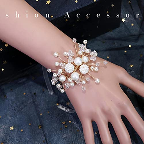 SONGK Pulsera Coreana de Moda Hecha a Mano Simple Novia Dama de Honor Flor de muñeca Perla Blanca Flor de Mano celebración de Boda Regalo joyería