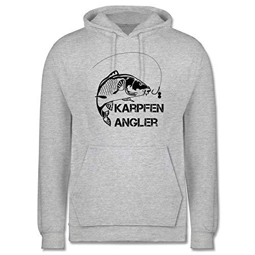 Shirtracer Angeln - Karpfen Angler - XL - Grau meliert - Angler Hoodie - JH001 - Herren Hoodie und Kapuzenpullover für Männer