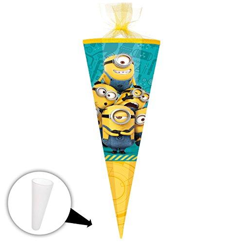 alles-meine.de GmbH Schultüte -  Minions - ich einfach unverbesserlich  - 50 cm - rund - mit Tüllabschluß - Zuckertüte - mit / ohne Kunststoff Spitze - Nestler - Jungen Mädchen..