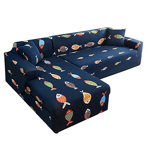 Fundas de sofá elásticas Banane para sofá en forma de L, color sólido, funda protectora de sofá de fácil ajuste, suave tela de poliéster elástico, lavable, resistente al polvo habitual, Colored fish
