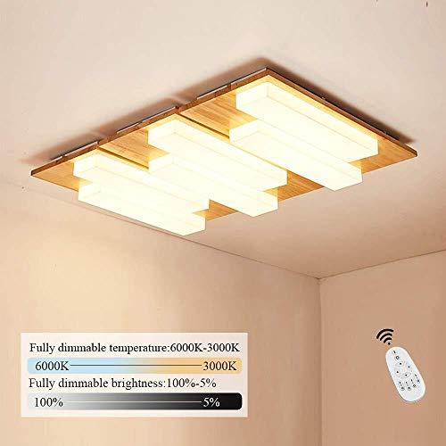 noyydh Techo De La Vida Moderna Lámpara Remota Dormitorios Casa Sencilla De Madera Rectangular De LED (Size : 95CM)