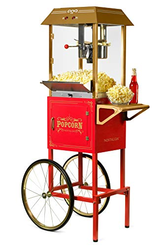 "Nostalgia Vintage 10-Ounce Professional Popcorn and Concession Cart | 59"" Tall, Makes 40 Cups of Popcorn, Kernel Measuring Cup, Oil Measuring Spoon & Scoop 