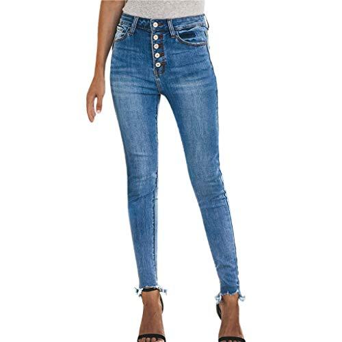 Fenverk Damen Slim Jeans Jasmin Jeggins Jeanshose Skinny Alexa RöHrenjeans Hose Damenjeans Boyfriend Baggy Harems Frauen Mit Hohe Taille Stretch Bleistifthose Leggings (Blau 1,L)